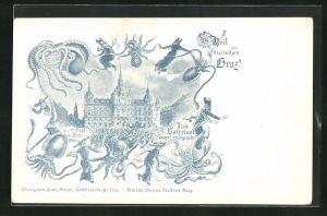 Lithographie Graz, Versammlung vor dem Schloss