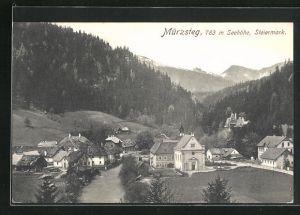 AK Mürzsteg, Teilansicht mit Bergen