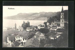 AK Mattsee, Ortspartie mit Kirche aus der Vogelschau