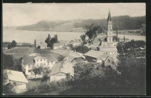 AK Mattsee, Ortsansicht mit Kirchturm
