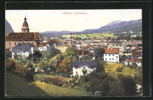 AK Hallein, Ortsansicht von Anhöhe aus auf Kirche und Häuser