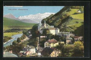 AK Hallein, Klosterkirche auf Hügel mit Fluss und Gebirge