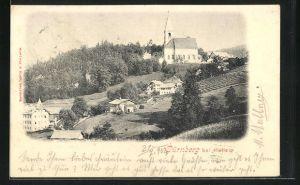 AK Dürnberg bei Hallein, Ortsansicht mit Kirche und Wald