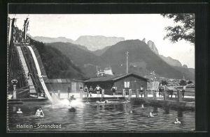 AK Hallein, Strandbad mit Wasserrutsche und Schwimmern, Gebirgspanorama