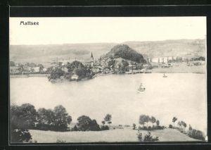 AK Mattsee, Totalansicht mit See und Booten auf Kirchturm aus der Vogelschau