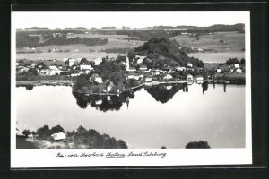 AK Mattsee, Totalansicht mit See und Landschaft mit Blick auf Kirche, Fliegeraufnahme