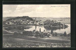 AK Mattsee, Totalansicht von der Ludwigshöhe aus auf Kirche und See