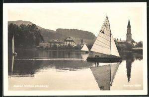 AK Mattsee, Seebad Mattsee mit Segelbooten und Blick auf Kirche