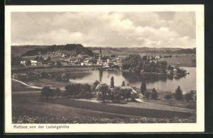 AK Mattsee, Ortsansicht von der Ludwigshöhe aus auf See und Kirche