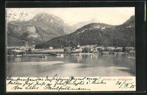 AK Strobl am Wolfgangsee, Totalansicht vom See aus gesehen auf Kirche