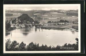 AK Mattsee, Totalansicht über See zum Ort mit Kirche aus der Vogelschau