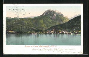 AK Strobl, Totalansicht über den Wolfgangsee mit Blick auf den Rettenkogl