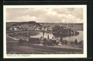 AK Mattsee, Totalansicht von der Ludwigshöhe mit Blick auf den See