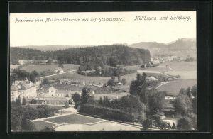AK Hellbrunn, Panorama vom Monatsschlösschen aus auf Schlosspark
