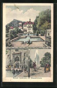 Künstler-AK Hellbrunn, Schloss Hellbrunn mit Wasserkünsten