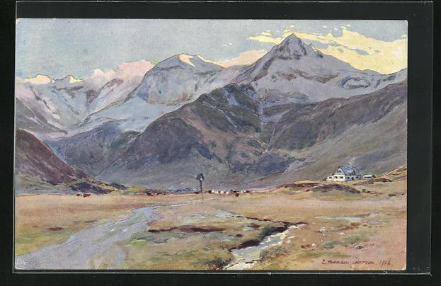Künstler-AK Edward Harrison Compton: Berglandschaft mit Fluss und Haus