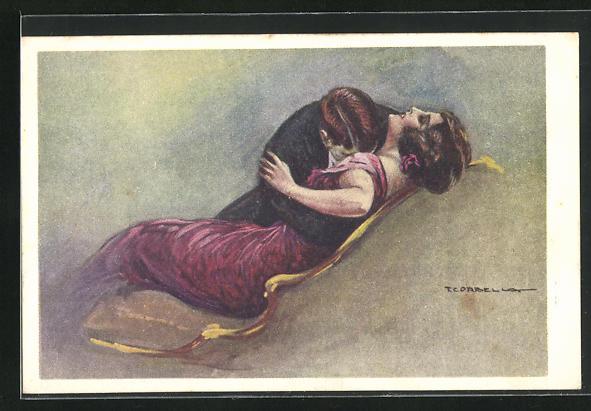 Künstler-AK Tito Corbella: Herr küsst Dame aufs Dekollete, Dame in rotem Kleid