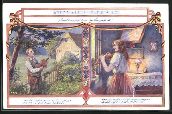 Künstler-AK Ezel: Mann bringt am Gartentor ein Ständchen, Frau steht an Fenster und lauscht
