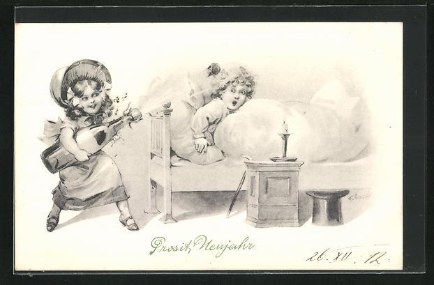 Künstler-AK F. Gareis: Neujahrsgrusskarte, Mädchen lässt Korken knallen neben Mädchen im Bett