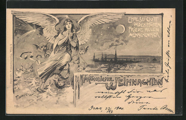 Künstler-AK F. Gareis: Weihnachtsgrusskarte, betender Engel, Ehre sei Gott in den Höhen, Friede allen Menschen hier
