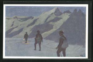 Künstler-AK Otto Barth: Bergsteiger bei Nacht in Schneelandschaft mit Bergen