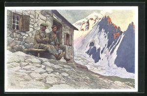 Künstler-AK Otto Barth: Zwei Männer auf Bank vor Berghütte, Schneegipfel