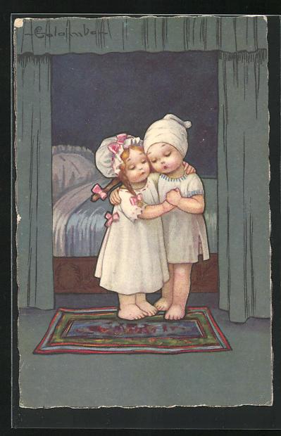 k nstler ak e colombo zwei kinder umarmen sich vor dem. Black Bedroom Furniture Sets. Home Design Ideas