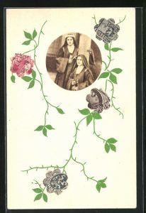 AK Briefmarkencollage mit Nonnen