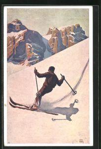 Künstler-AK Otto Barth: Skifahrer bei Abfahrt von Berg