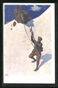 Künstler-AK Otto Barth: Bergsteiger beim Abstieg von schneebedeckter Bergwand