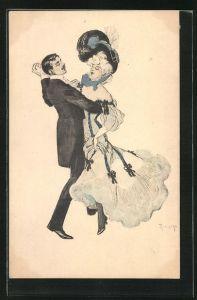 Künstler-AK Simplicissimus: Dame mit Federkleid und Hut tanzt mit elegantem Herrn