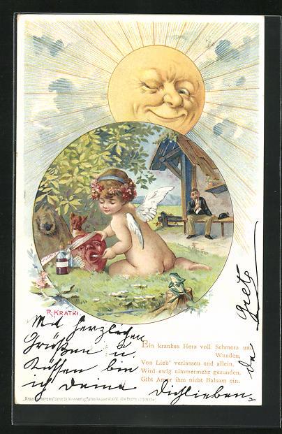 Künstler-AK R. Kratky: nacktes Engelchen gibt Herz mit Verband Medizin, zwinkernde Sonne
