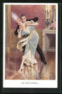 Künstler-AK Franz Kuderna: Es war einmal, tanzendes Paar in Saal