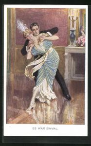 Künstler-AK Franz Kuderna: elegantes Paar in ungewöhnlicher Tanzpose, Es war einmal