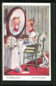Künstler-AK T. Gilson: Ihr Hochzeitsmorgen, Mädchen an Frisiertisch richtet wildes Haar, Brautstrauss, Schleier