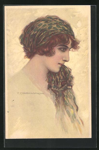 Künstler-AK Tito Corbella: Dame mit rotem Haar und grünem Kopftuch im Profil