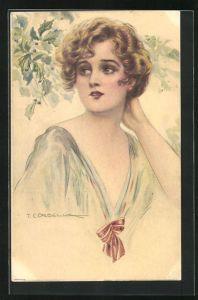 Künstler-AK Tito Corbella: Dame mit kurzen blonden Haaren mit Hand in Nacken