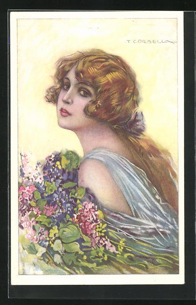 Künstler-AK Tito Corbella: Frau mit langen goldenen Haaren hält Blumenstrauss in Arm