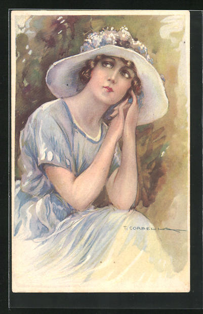 Künstler-AK Tito Corbella: Frau in blauem Sommerkleid mit Sommerhut blickt auf