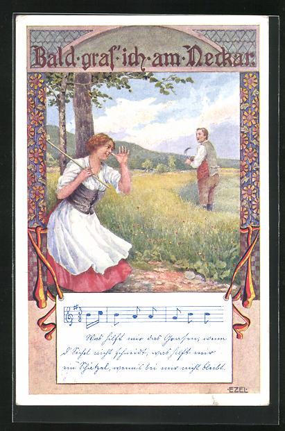 Künstler-AK Ezel: Frau zeigt Mann auf Feld lange Nase, Bald gras ich am Necker, Noten