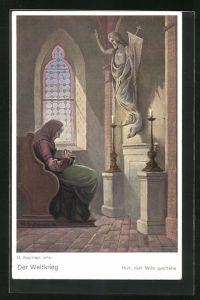 Künstler-AK Max Kuglmayr: Der Weltkrieg, Herr, dein Wille geschehe, alte Frau in Kirche betet vor Jesus Figur