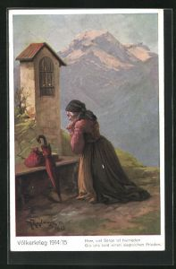 Künstler-AK Max Kuglmayr: Völkerkrieg 1914 /15, alte Frau betet auf Knien, Gib uns bald siegreichen Frieden