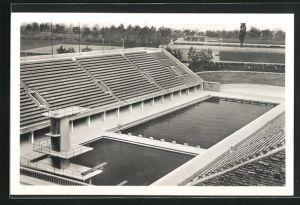 AK Berlin, Reichssportfeld, Blick von der Kampfbahn auf das Schwimmstadion