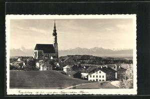 AK Eggelsberg, Teilansicht mit Kirche und den Bayerischen Alpen