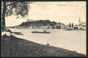 AK Ottensheim a. Donau, Ortsansicht mit Kirche vom gegenüberliegenden Ufer aus gesehen