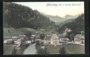 AK Mürzsteg, Ortspartie am Fluss