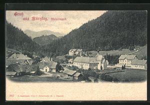 AK Mürzsteg, Ortspartie mit Blick auf das Gebirge