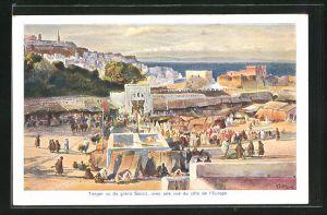 Künstler-AK Tanger, vue du grand Socco, avec une vue du cote de l'Europe