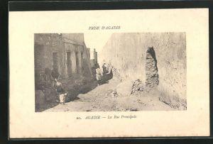 AK Agadir, La Rue Principale, Strassenpartie