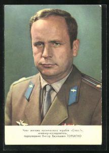 AK Portrait eines Sowjetkosmonauten, 1969, Raumfahrt